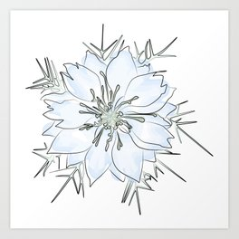 Nigella flower watercolor Art Print