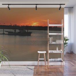 Fishing Boat at Sunset Wall Mural