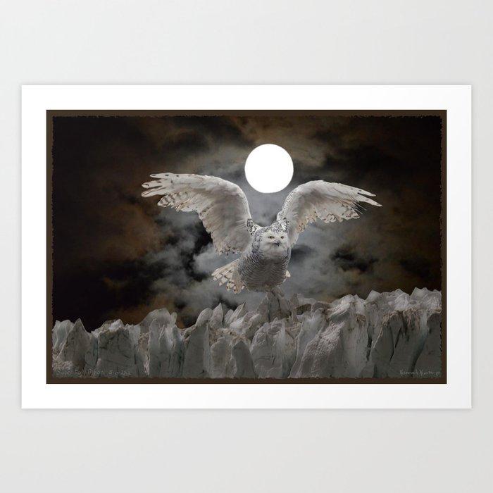 White Owl Super Moon Art Print