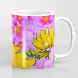 PINK COLOR PINK-YELLOW FLORALS ART Coffee Mug