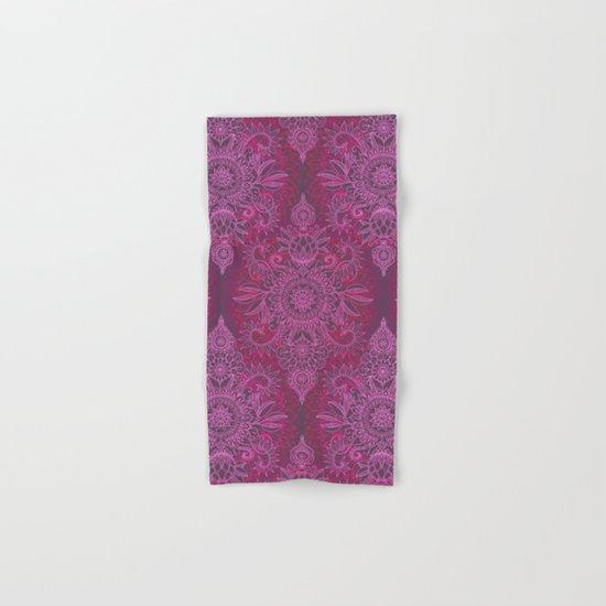 Magenta, Pink & Coral Protea Doodle Pattern Hand & Bath Towel