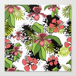 Floral theme. Tropical orchids. Canvas Print