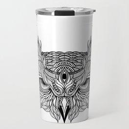 OWL head. psychedelic / zentangle style Travel Mug