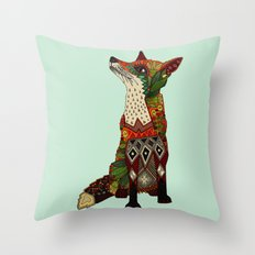 fox love mint Throw Pillow