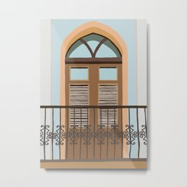 Old San Juan Balcony Illustration Metal Print