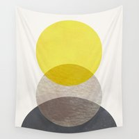 georgiana paraschiv Wall Tapestries featuring SUN MOON EARTH by Georgiana Paraschiv