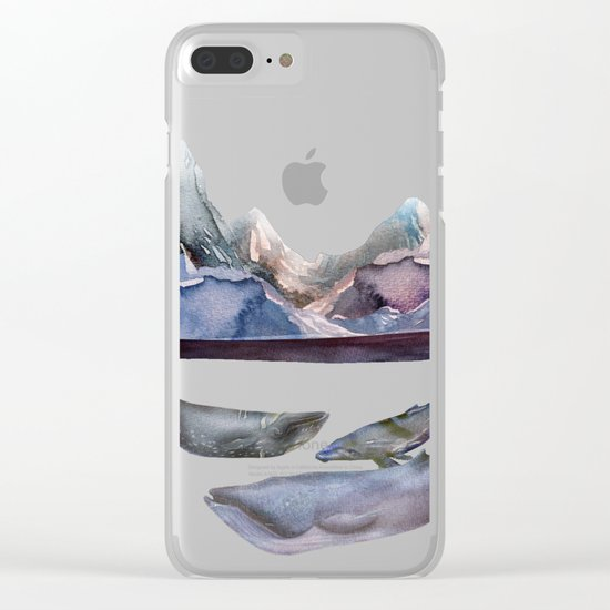 mountain and whales Clear iPhone Case