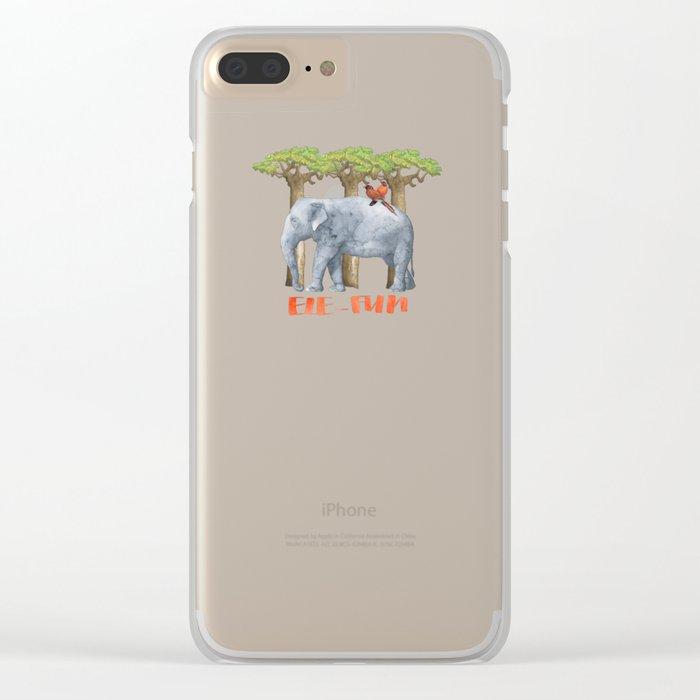 ELE FUN - Elephant Elephants Africa Watercolor Illustration Clear iPhone Case