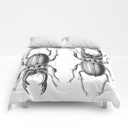 Vintage Beetle black and white Comforters