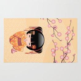 Japanese Ume Kokeshi Doll Rug