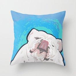Bulldog Slurp Throw Pillow