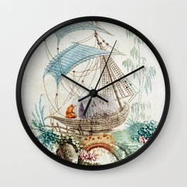 Chinoiserie Embroidery Wall Clock