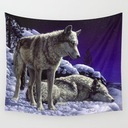 Night Watch Wolves in Snow Wall Tapestry