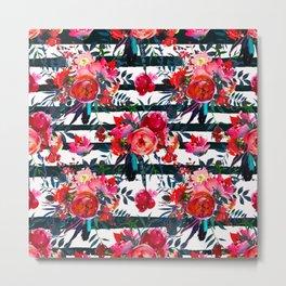 Magenta pink fuchsia black white watercolor floral stripes Metal Print