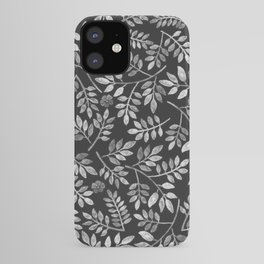 Black and White Leaves Pattern iPhone Case