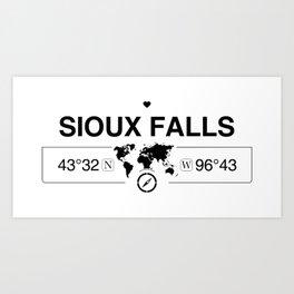 Sioux Falls South Dakota Map GPS Coordinates Art Print
