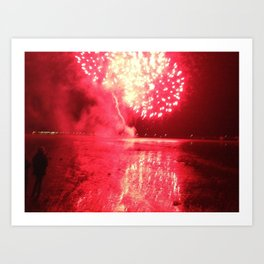 Fireworks (Red) Art Print