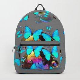 MODERN ART NEON BLUE BUTTERFLIES PATTERNS ART Backpack