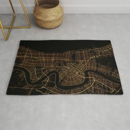 Black and gold New Orleans map Rug