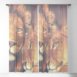 Lions Soulmates Sheer Curtain