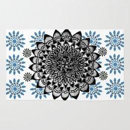 Black Hand-Drawn Mandala on Digital Mandala Textile Rug