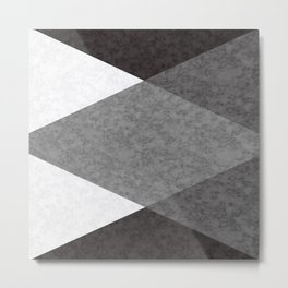 Marble grey and black triangles Metal Print