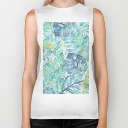 Modern teal green yellow watercolor tropical leaves Biker Tank