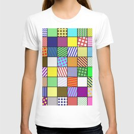 Retro Patchwork - Abstract, geometric, patterned design T-shirt