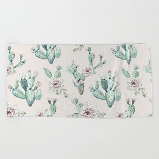 Pretty Cactus Rose Pattern Pale Pink + Green Beach Towel
