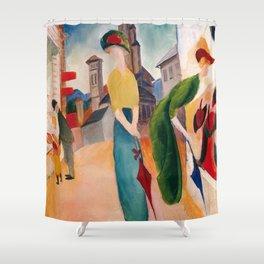 """August Macke """"Zwei Frauen vor dem Hutladen (Two women in front of a hat shop)"""" Shower Curtain"""