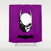 gotham Shower Curtains featuring Black & White Gotham Knight by tuditees