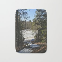Forest lake in the spring forest Bath Mat