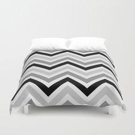 Chevron Stripes : Black Gray White Duvet Cover