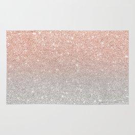 Modern trendy rose gold glitter ombre silver glitter Rug
