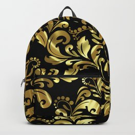 Bold Damask Gold Print Backpack