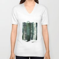 birch V-neck T-shirts featuring birch trees by hannes cmarits (hannes61)