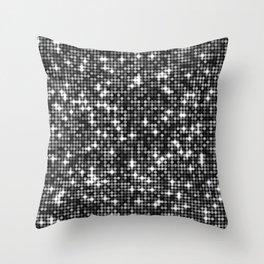 Modern Sparkling Dots Black Pattern Throw Pillow