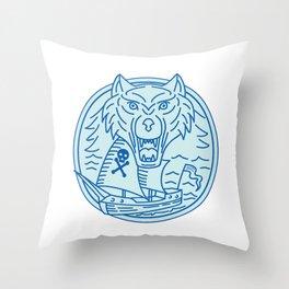 Seawolf Pirate Ship Circle Mono Line Throw Pillow