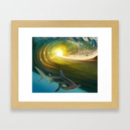 Surfin' Shark Framed Art Print