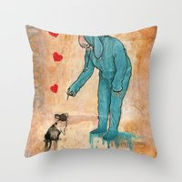 will graham Throw Pillows featuring GRAHAM CRACKERS by RAGING BUNNIES