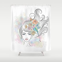 Portrait of a woman with tropical flowers and a bird in her hair. Shower Curtain