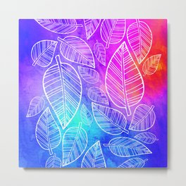 Feather Leaves: Brights Metal Print