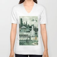 travel poster V-neck T-shirts featuring Chicago Travel Poster Illustration by ClaireIllustrations