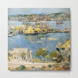 Classical Masterpiece 'Gloucester Harbor Landscape' by Frederick Childe Hassam Metal Print