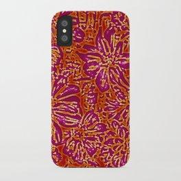 Marigold Lino Cut, Batik Red And Purple iPhone Case