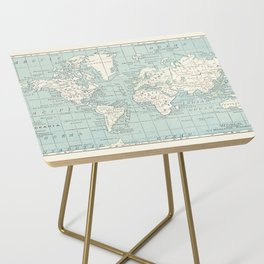 World Map in Blue and Cream Side Table