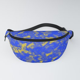 A interweaving cluster of blue bodies on a yellow background. Fanny Pack