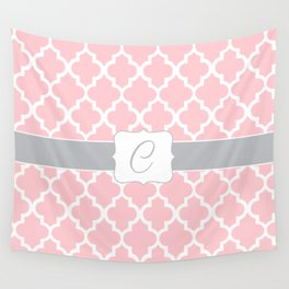 """Light Pink Moroccan Quatrefoil Pattern with """"C"""" Monogram Wall Tapestry"""