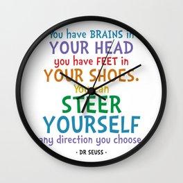 Brains & Feet Quote - Dr Seuss Wall Clock