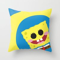 spongebob Throw Pillows featuring Spongebob Squarepants by Eyetoheart